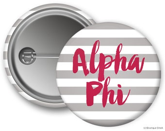 Alpha Phi Stripe Sorority Greek Button