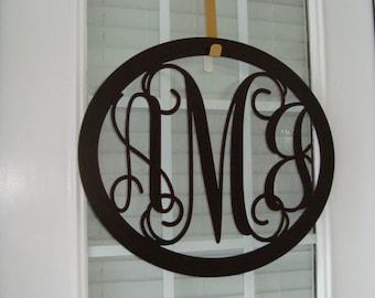 Oval Metal Monogram Wall/Door Hanger, Monogram Wreath, Initial Door Hanger, Metal Monogram Door Hanger, Three Letter Monogram, TLO2016