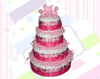 4-Tier Pink Diaper Cake, Baby Shower Centerpiece, Girl Diaper Cake Centerpiece
