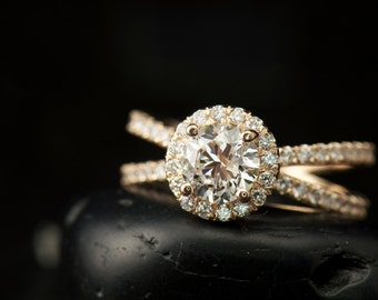 Shayla - Moissanite & Diamond Engagement Ring in Yellow Gold, Round Brilliant Halo, Criss-Cross Split Shank, 3/4 Eternity, Free Shipping