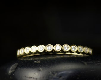 Petite Cadence - Diamond Wedding Band in Yellow Gold, Round Brilliant Cut Bezel Set Diamonds, Stackable, Push Gift, Free Shipping