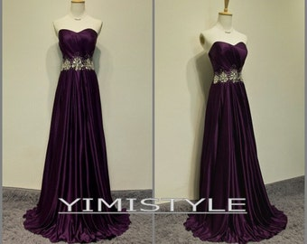 2015 prom evening dress , purple prom dress , purple evening dress , long evening dress , long evening dress in handmade , long evening gown