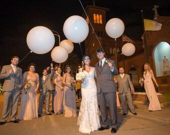 White 36 Inch Round Ballon Kit, Wedding, Baby, Birthday, Shower, Decor, Oversized