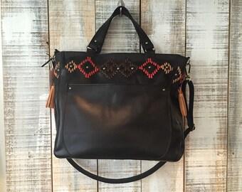 Black shoulder bag, large leather handbag, laptop purse, black leather bag, black crossbody