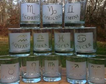 Zodiac etched glassware