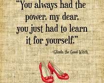 You always had the power//Wizard of Oz Art//Dorothy//Glinda the Good Witch//Book Illustrations//Digital Design//INSTANT DOWNLOAD