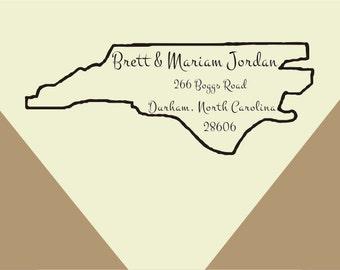 Custom North Carolina state outline Return Address Stamp- Available all 50 state -Custom return address Stamp - Custom Rubber Stamp  -