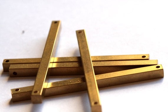 "square stamping bar 4 pcs connector 5 x 75 mm 3/16"" x 3""  raw Brass finding square rod industrial (2 mm 5/64"" 12 gauge hole ) sbl575-1096"