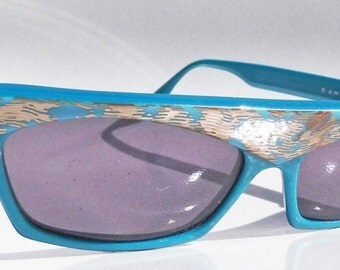 Alain Mikli Blue with Gold Designer Sunglasses Paris France Made 1985