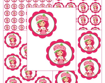 INSTANT DOWNLOAD Strawberry Shortcake ( 5 sizes ) - for Balloon, Stickers, Lollipop, Favor bags, Cups - Printable file