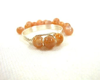 Sunstone .925 Sterling Silver Wire Wrapped Ring