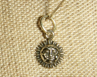 Tiny Smiling Sun Charm Sterling Silver Vintage inv1217