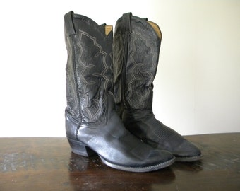 1980's Black Western Cowboy Boots used size 91/2 D By Tony Lama