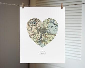 Detroit Michigan Map Heart Print, Detroit Map Print, Heart Map Print, Hometown Art, Custom Map Art, Map of Detroit