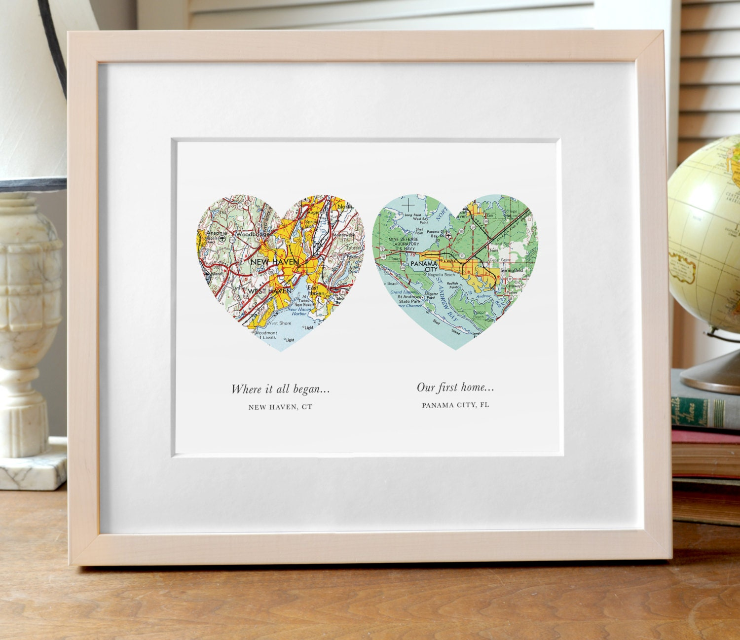 Two Hearts Map Print Wedding or Engagement Gift Two Map