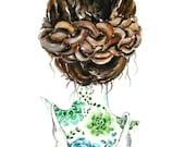 "Girl Woman Crown Braid Hair Illustration Brown Cacti Cactus Tattoo Illustration Back Succulent Green 8x10"" Art Print"
