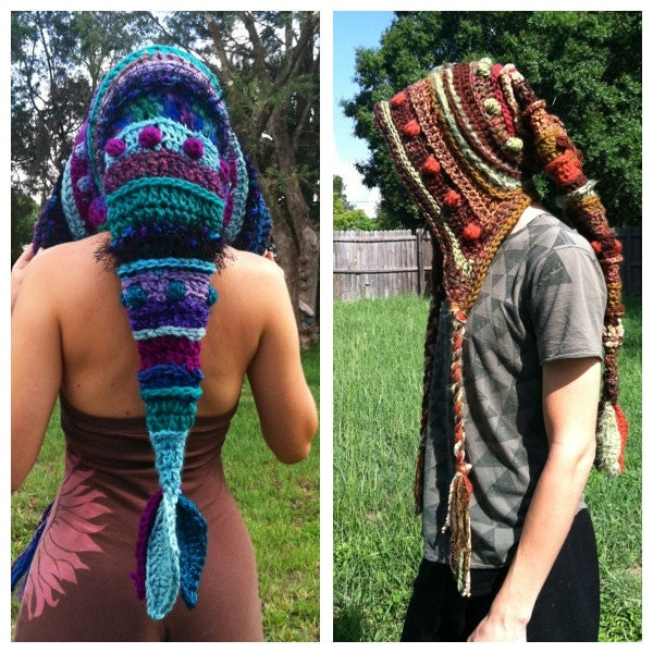 Free Knitting Pattern Pixie Hood : Custom Freeform Long Pixie Hood Elf Leaf