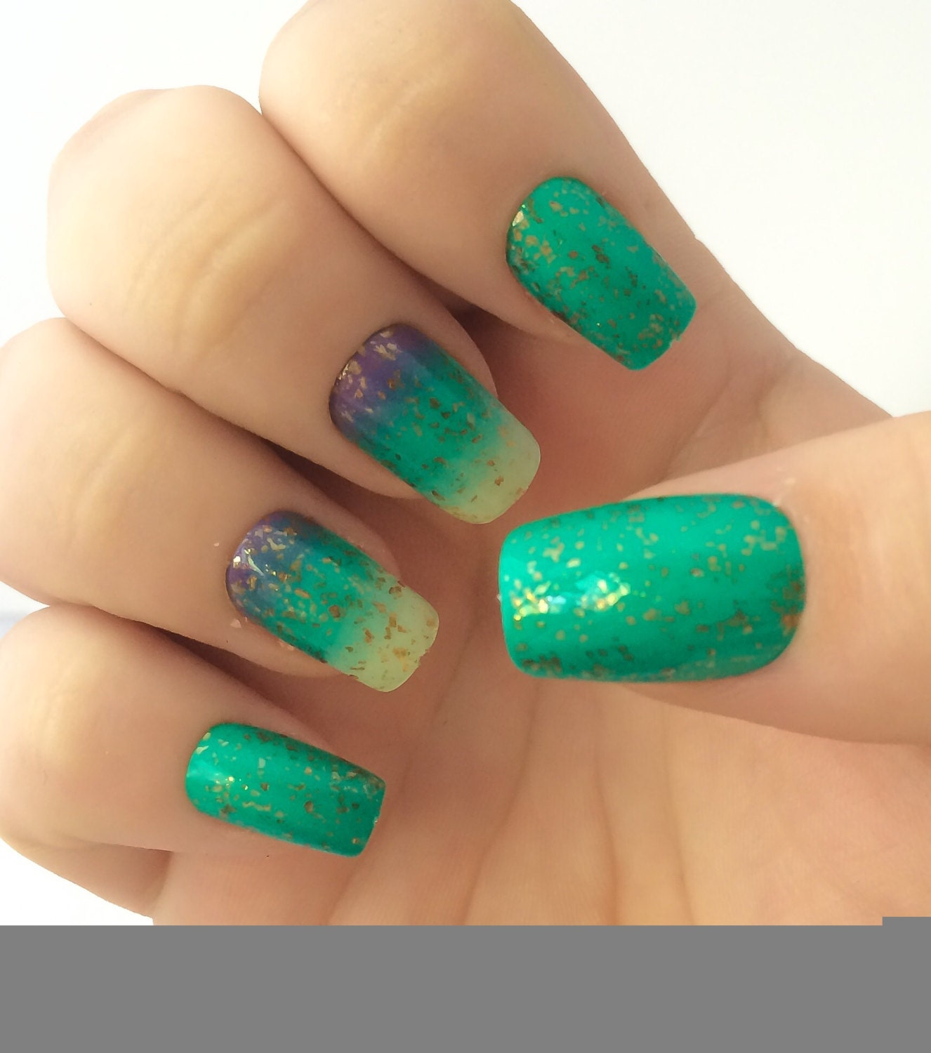 How To Do Ombre Nail Polish: Ombre Fake Nails Green Nail Polish Blue Nail Polish False