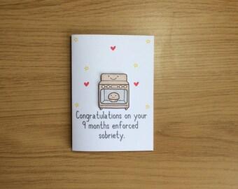 Pregnancy Card, Baby Card, Bun In The Oven Card, Pregnant Card
