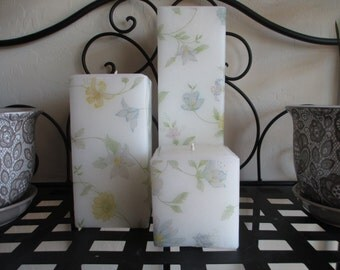 Wildflower Decorative Square Pillar Candle Set