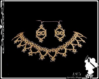 Gold Tatted Necklace and Earrings
