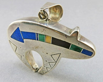 Native American Sterling Pendant Mosaic Jewelry With Semi Precious Stones Ethnic Jewellery Vintage Collectibles