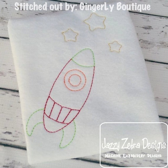 Rocketship Color Work Embroidery Design - - space embroidery design - alien embroidery design - space ship embroidery design