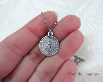 Round Miraculous Medal - Stainless Steel Chain - Our Lady Pendant - Mary - Blessed Mother - Mini Dainty Small Tiny Simple