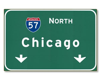 Chicago Highway Sign Steel Wall Decor Illinois il Interstate Souvenir Gift Automotive Road Travel Replica METAL not tin 36x24 FREE SHIPPING