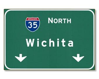Interstate Sign Wichita Metal Wall Decor Kansas ks Highway Gift Car Auto Road Travel Replica STEEL not tin 36x24 FREE SHIPPING