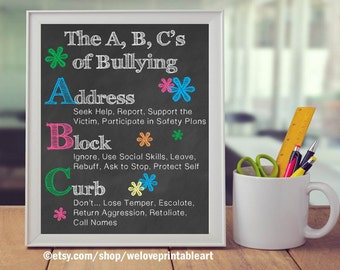 Anti-Bullying, Bullying Prevention, Bully Prevention, ABCs of Bullying, Teacher Classroom Decor, Classroom Decoration, Back to School Poster