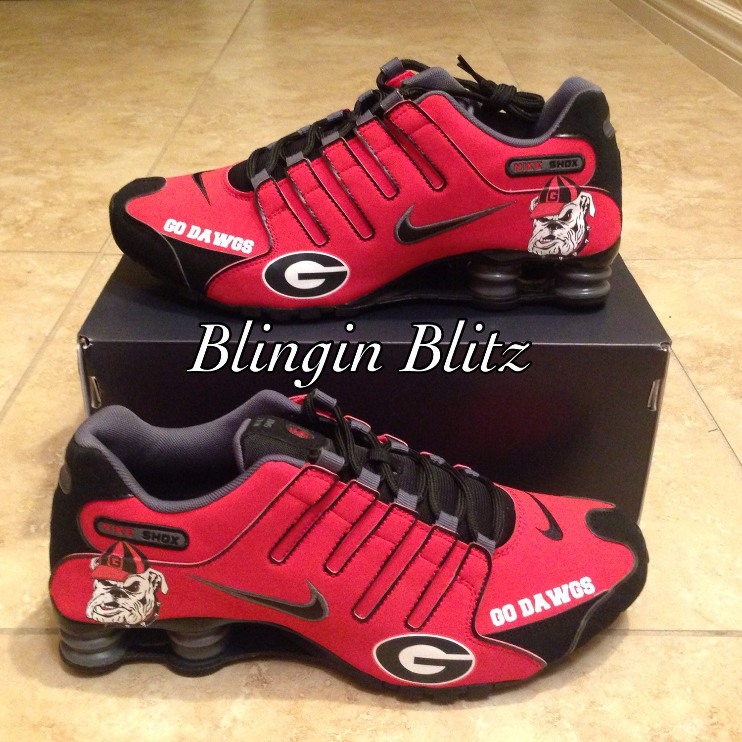 georgia bulldog nike shoes mens georgia bulldogs shox by blinginblitz on etsy 7504