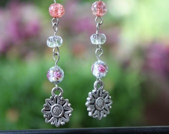 Dangle pink and Flowery sunflower earrings