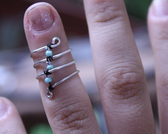 wire wrapped mid or pinky ring