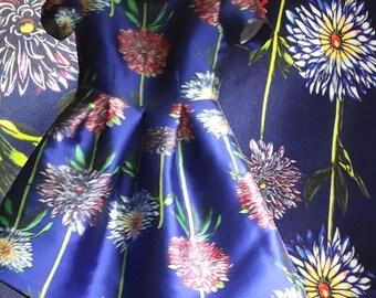 High Quality Brocade Fabric Blue Satin Fabric Dress Fabric Flower Printing 1 meters