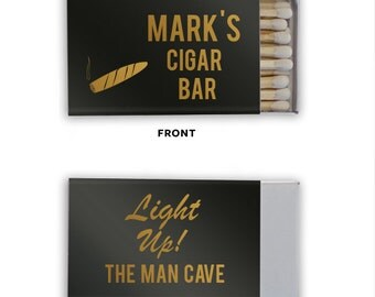 Personalized Man Cave Cigar Bar Men's Matches Matchbook Match Book Birthday Custom Printed Lots of Colors to choose from!