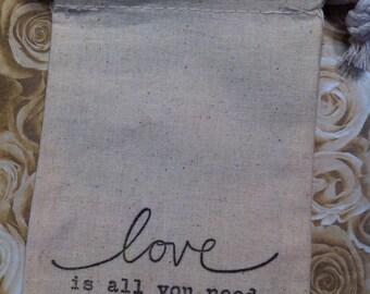 Set of 100 muslin Wedding Favor Bags/Bridal Shower Favor Bags, Size 4 x 6