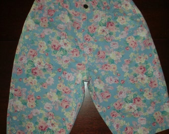 Bermuda High Waist Shorts Rose Floral Print by Gap Ferrat  Jr. Size 11 100% Cotton Pink Yellow & White Roses on Blue Denim