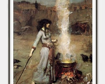 Magic Circle (The Witch) by John William Waterhouse - Witchcraft - Pre-Raphaelite Style - Mystical Home Decor - Art Reproduction