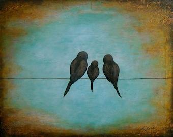 Bird on a wire art,  abstract bird art, rustic bird artwork, bird family art, Original Bird painting by Nancy Quiaoit at NancyQart.