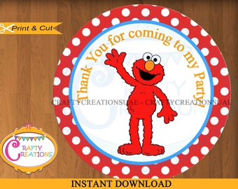 Elmo Thank You Tags - Elmo Favor Tags - Sesame Street - Birthday - Party - Stickers - Red - PRINTABLE - INSTANT DOWNLOAD -CraftyCreationsUAE
