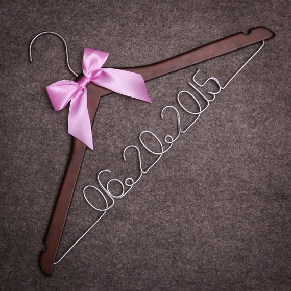 Personalized wedding hanger with date custom bridal by for Wedding dress hanger name