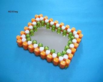 Orange Series Compact Mirror Pocket Mirror Purse Makeup Mirror Unique Personalized Hand Mirror Bridesmaid Mirror with Colorful Beads Frame