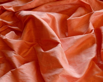 "Iridescent Coral Pink Dupioni Silk, 100% Silk Fabric, 44"" Wide or 54"" Wide, By The Yard (S-138)"