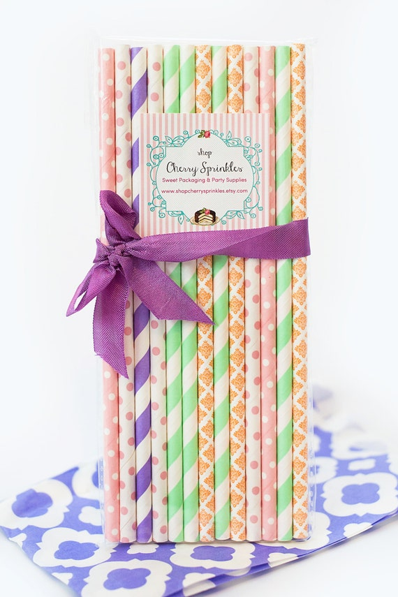 EASTER -party supplies Mint, Pink, lavender and orange Paper Straws ...