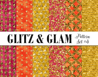 Gold Digital Patterns / Gold Bohemian Digital Paper / Modern Digital Background Paper / Glitzy Digital / Glam Patterns / Printable Paper