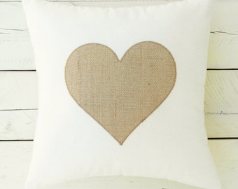 "Rustic Throw Pillow with Burlap Heart Applique - 15"" x 15"""