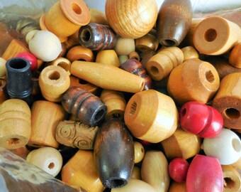 Wooden beads, craft beads, craft supplies, destash beads