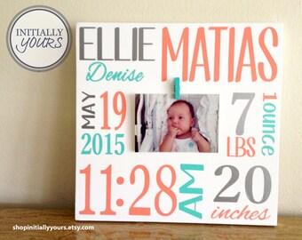 Newborn Gift Custom Personalized Baby Girl Birth Information Frame, Baby Stats, Baby Shower