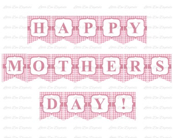 Printable Happy Mother's Day Pink Gingham Banner Sign Bunting Pennant